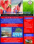 Front cover of the summer 2017 newsletter. American flags in the top header. White text with blue and red background.