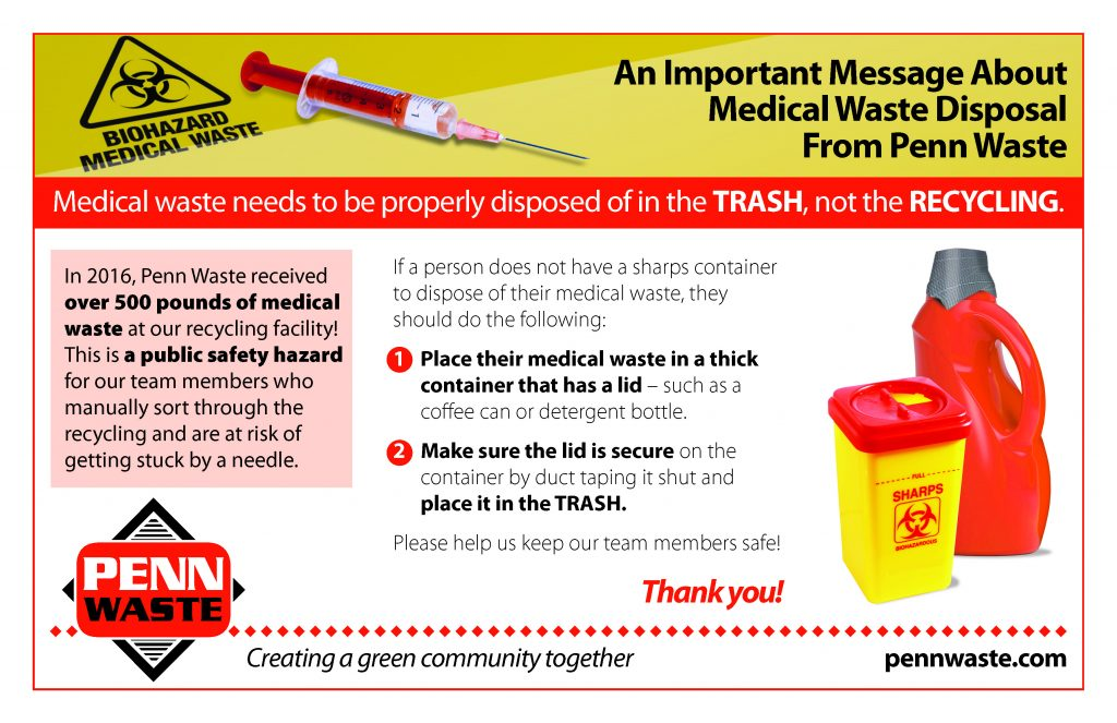 Picture of hazard container and needle with text describing about hazardous waste should be placed in the trash, not recycling