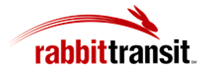 Rabit Transit logo in red and black with a red, cartoon rabbit jumping over the text