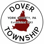 The township boundary is colored red with black, curved text of Dover Township. Center black text York County, PA Established 1743