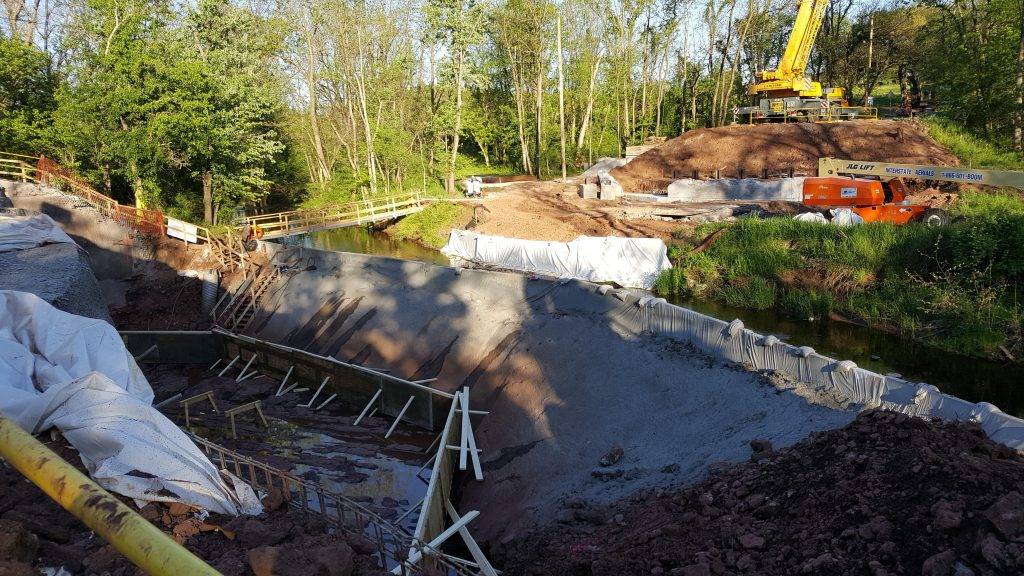 Picture taken looking down at the footing construction area.