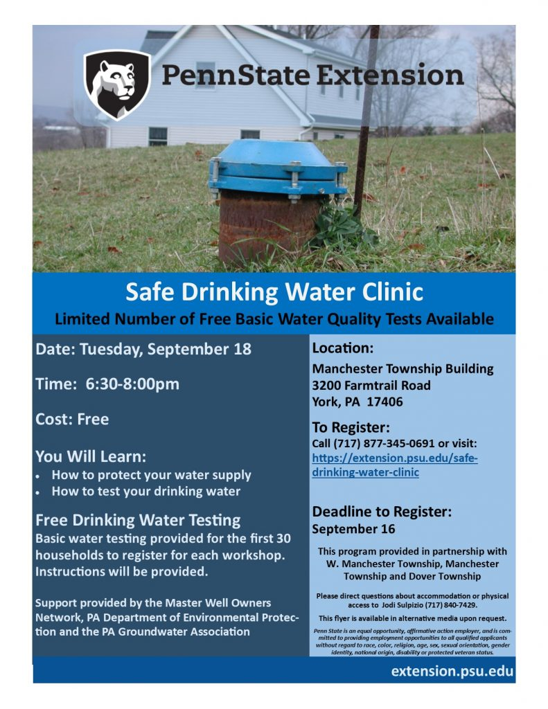"""""""Safe Drinking Water"""" A Public Education Stormwater Management Seminar Tuesday September 18th, 2018 from 6:30-7:30 PM Manchester Township 3200 Farmtrail Road York, PA 17406-5699 Speaker: Jodi Sulpizio, Master Watershed Steward Coordinator Penn State Extension Office Presented by Dover, Manchester and West Manchester Townships."""