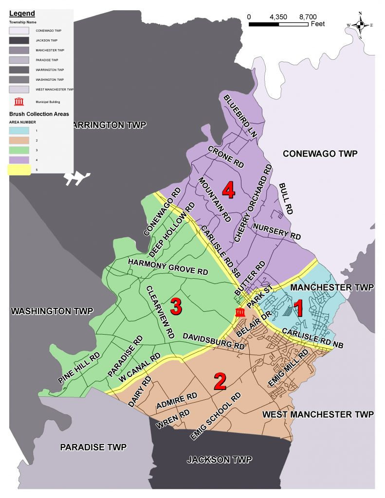 Map of the Township divided into five sections.