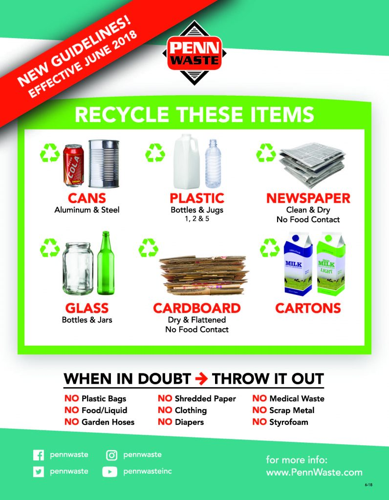 "Penn Waste flyer with green top and bottom rectangles. White background between the green rectangles. The Penn Waste logo is top-center of the flyer. Bright Green box in center of flyer with white text, ""Recycle these items"". Pictures of items that can be recycled: cans, plastic, newspaper, glass, cardboard and cartons. Bottom of the flyer with black, bold text, ""When in doubt, throw it out! No plastic bags, no food/liquid, no garden hoses, no shredded paper, no clothing, no diapers, no medical waste, no scrap metal and no styrofoam"""