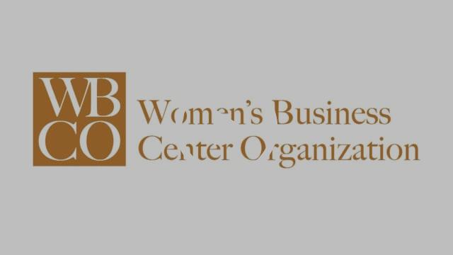 "Light gray background with orange text, ""Women't Business Center Organization"""