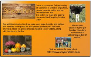 Orange background with black text. Picture of a calf, pumpkins and hay ride. The Smyser Farm is a 100-year tradition in our community. Currently the farm employs the 6th, 7th and 8th generations of the family. The operation consists of a dairy operation that milks 75 cows twice a day; farms several crops; and raises a small amount of produce. Each fall, the Smyser Farm invites families, especially those with children, to be entertained by visiting the Fall Festival. The Farm is opened all weekends in October. Attractions include: food, games, pumpkin patch, the irresistible corn box, straw maze, corn maze, hayrides and petting zoo. Visit and give the next generation of children the chance to come experience a farm first hand. Dover Township is proud of its agricultural heritage and encourages you to support our farming community.