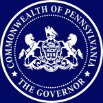 "Dark blue background with a white circle. White text, ""Commonwealth of Pennsylvania the Governor"""