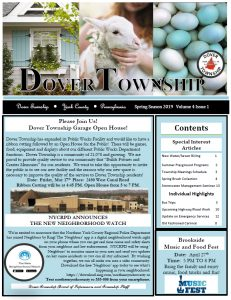 Sky blue backgrounds on all the boxes and black text. Dover Township York County Pennsylvania Winter Season 2019 Volume 3 Issue 5. Please click this image to download a full PDF copy of the Spring 2019 Newsletter.