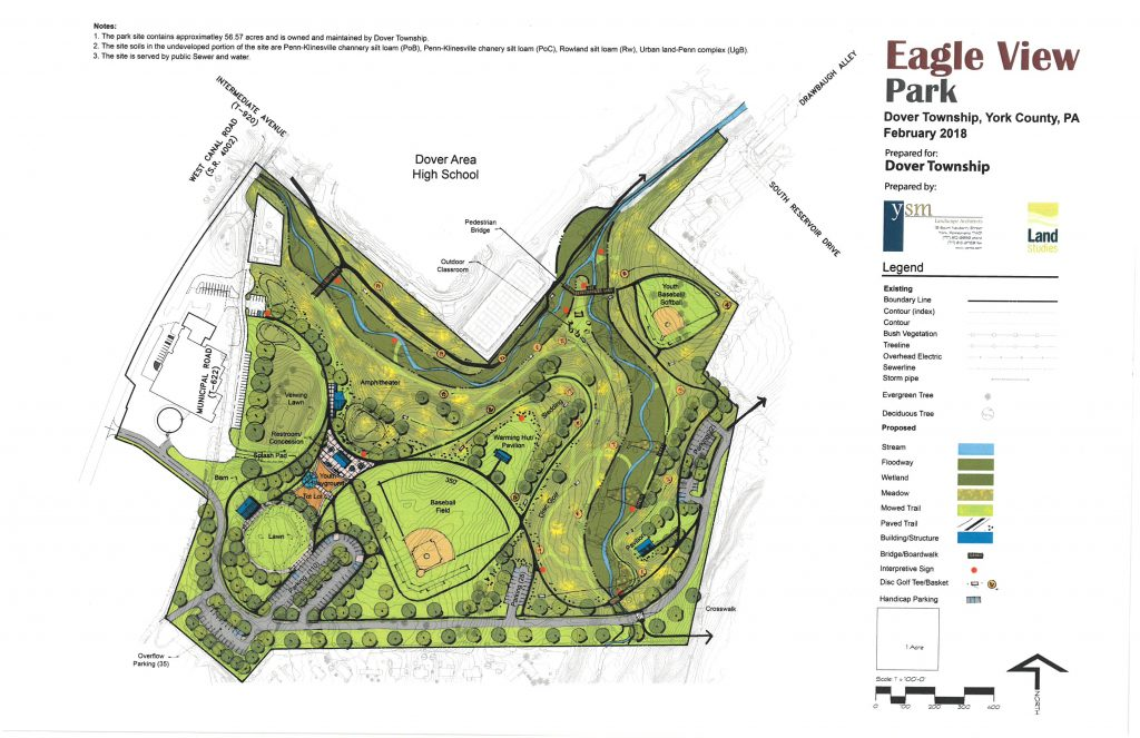 Picture of a proposed park plan for the old golf course property on Municipal Rd. Shows walking paths, ball fields, playground, sledding hill, stream restoration, trees and vegetation. This plan was last revised in February 2018 by YSM Land Studies.