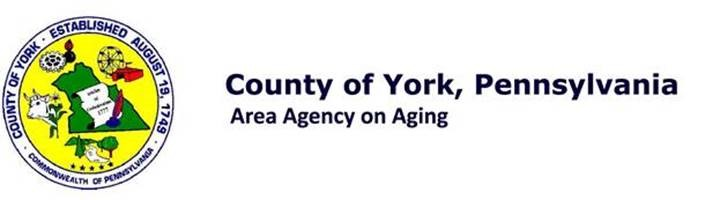 """White background with black text, """"County of York, Pennsylvania Area Agency on Aging"""". A Circle to the left of the text with yellow background and a green outline of York County. Spaced around the green York County outline, there is a cow, plants, Ferris wheel and cog wheel."""