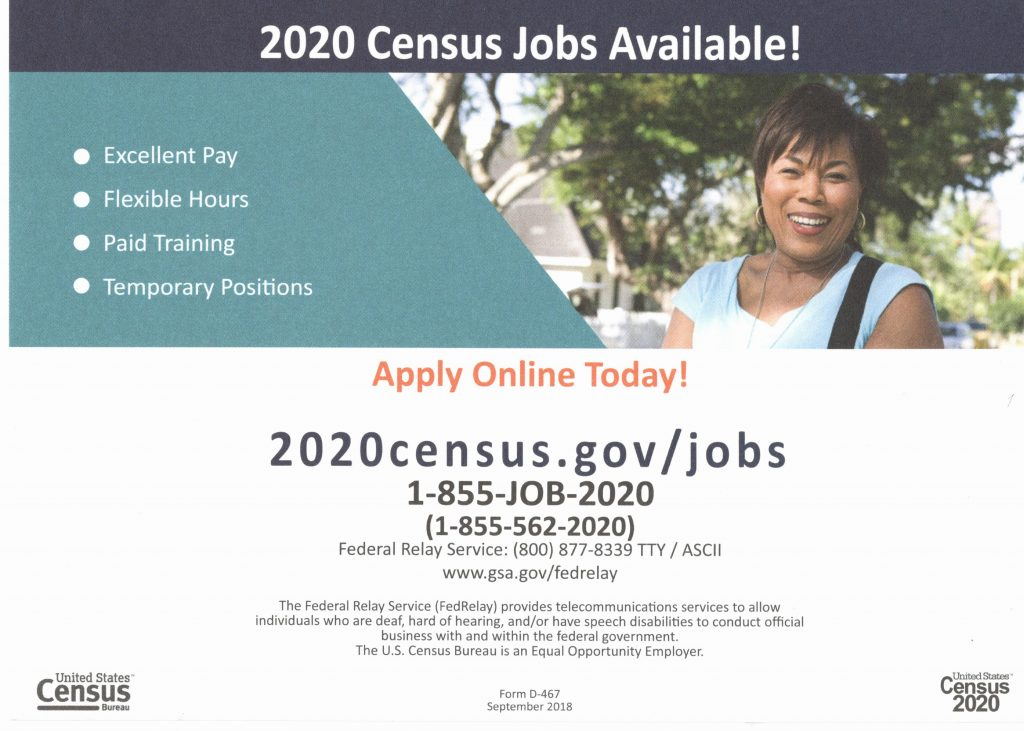 "Picture of a lady standing in front of a maple tree with text, ""2020 Census Jobs Available!"" Excellent Pay, Flexible Hours, Paid Training, Temporary Positions. Apply Online Today! 2020census.gov/jobs. 1-855-562-2020"""