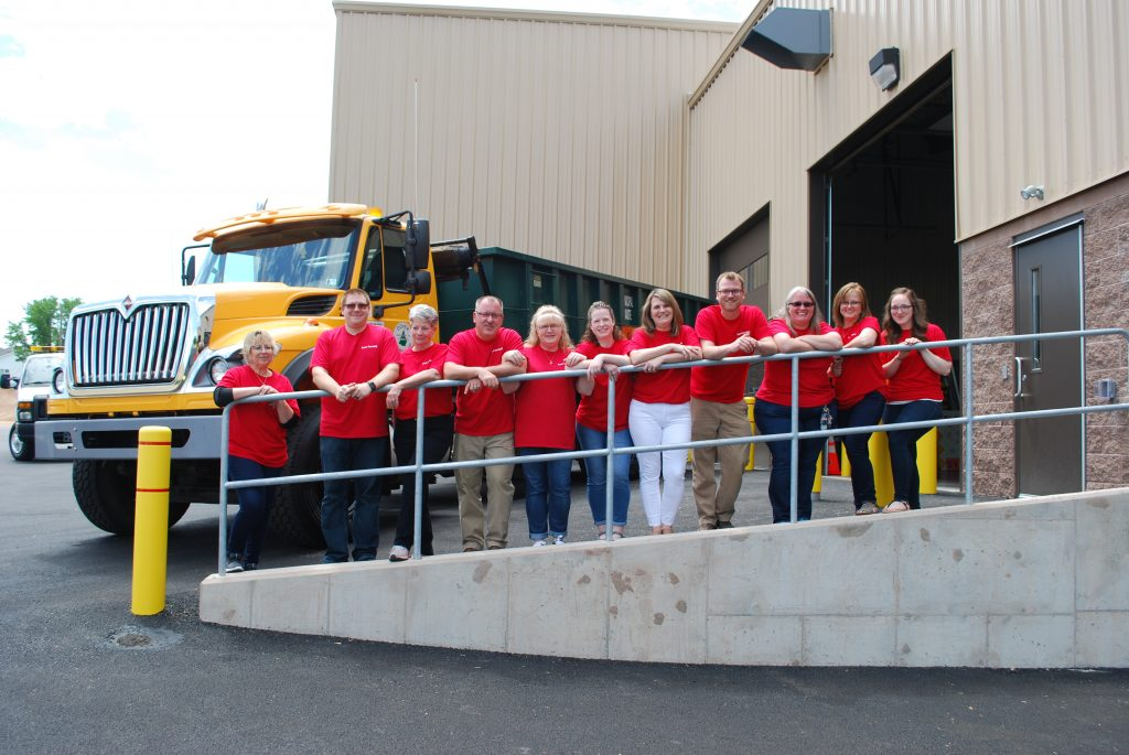 Dover Township Administrative Staff Group Picture wearing red shirts