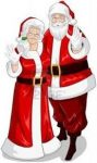 Picture of Mrs. Claus and Santa Claus wearing their traditional red and white coats with black belts.