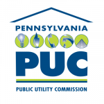 "white background with blue text, ""Pennsylvania PUC Public Utility Commission"" There is a green and black horizontal line in between ""PUC"" and ""Public Utility Commission"" Above the ""PUC"" text, there are five green circles spaced evenly with each containing a different picture of a utility. Light, Gas, Phone, Water and Roads"