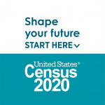 "top half of the image has a white background with blue text, ""Shape your future start here."" Bottom half of image has a blue background with white text, ""United States Census 2020"""
