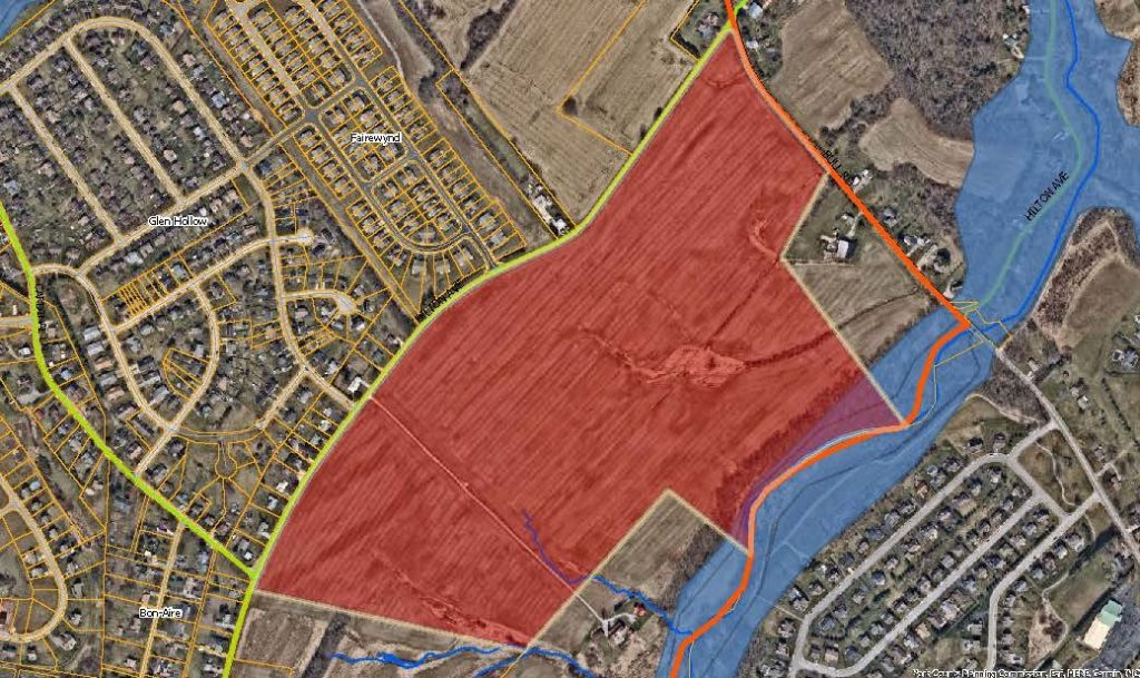 aerial map with the Hilton Ave and Bull Rd Priority Parcel colored in red. Click to the map picture to be redirected to the Dover Township interactive zoning map.