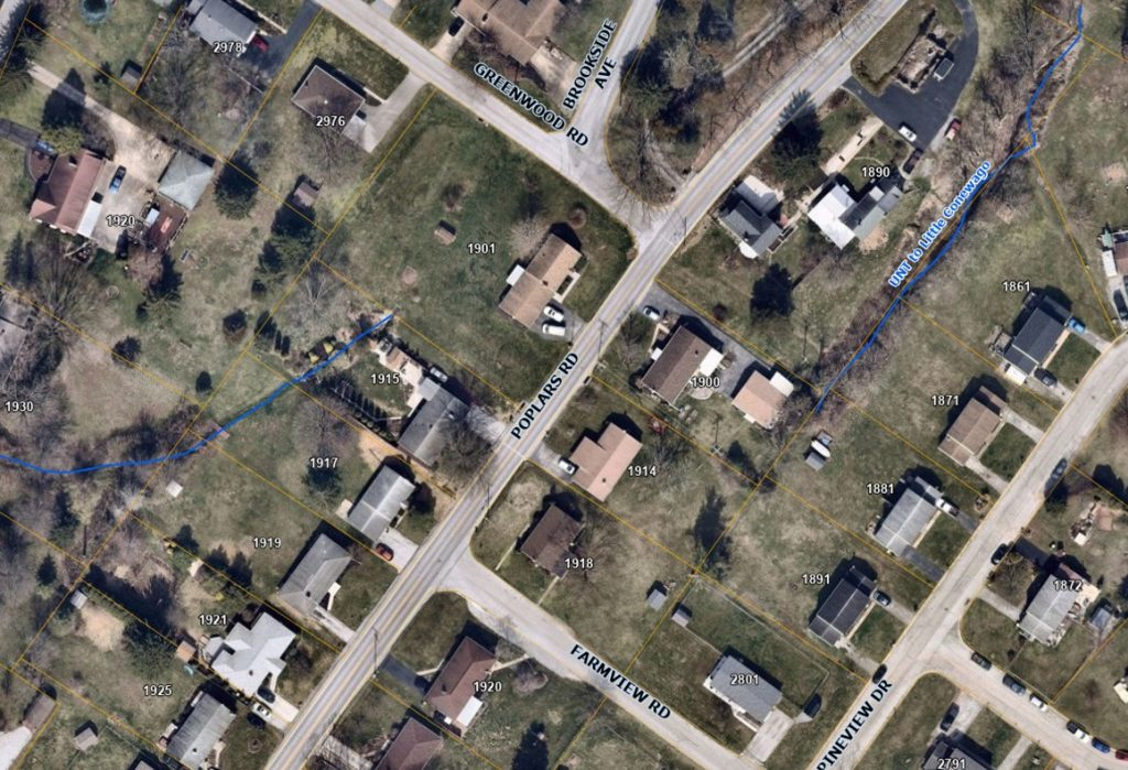 Aerial map centered on Poplars Rd between Greenwood Rd and Farm View Rd.