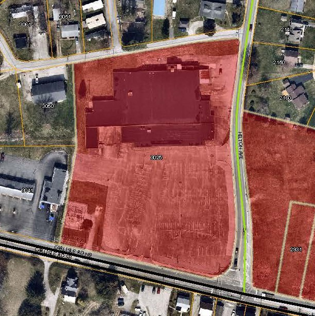 aerial map with 3025 Carlisle Rd Priority Parcel colored in red. Click to the map picture to be redirected to the Dover Township interactive zoning map.