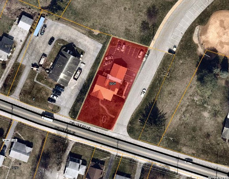 aerial map with 3201 Carlisle Rd Priority Parcel colored in red. Click to the map picture to be redirected to the Dover Township interactive zoning map.