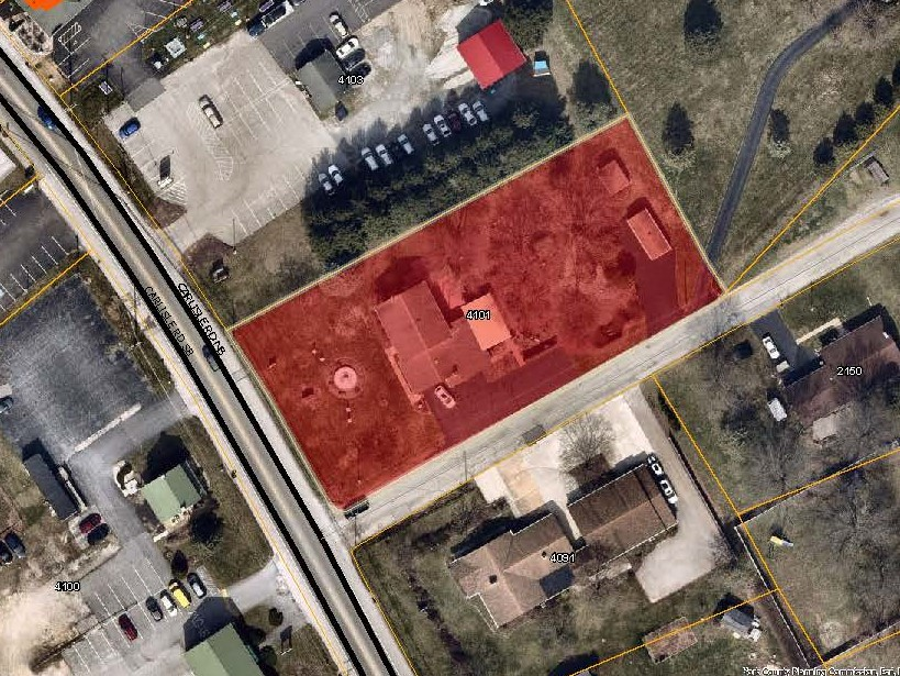 aerial map with 4101 Carlisle Rd Priority Parcel colored in red. Click to the map picture to be redirected to the Dover Township interactive zoning map.