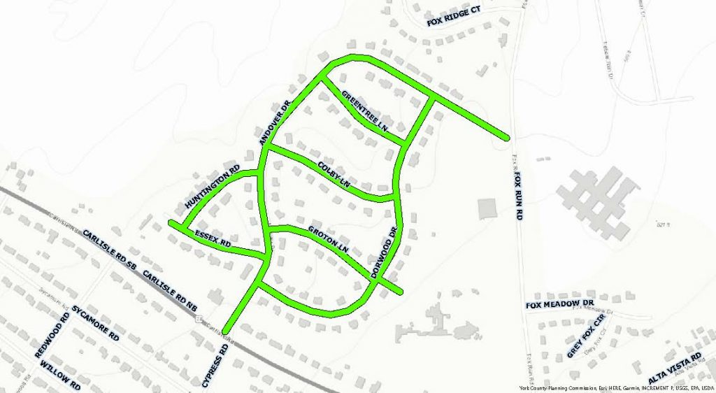 Topographic map of the Andover subdivision area with all the streets within the subdivision highlighted green. This is to showcase the project area for sewer and water line replacement starting in Fall 2021.