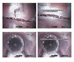 Four pictures from inside a sewer line showing multiple cracks and offsets of the sewer pipe.