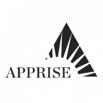 "Black triangle in the background with black text in the foreground, ""APPRISE"""