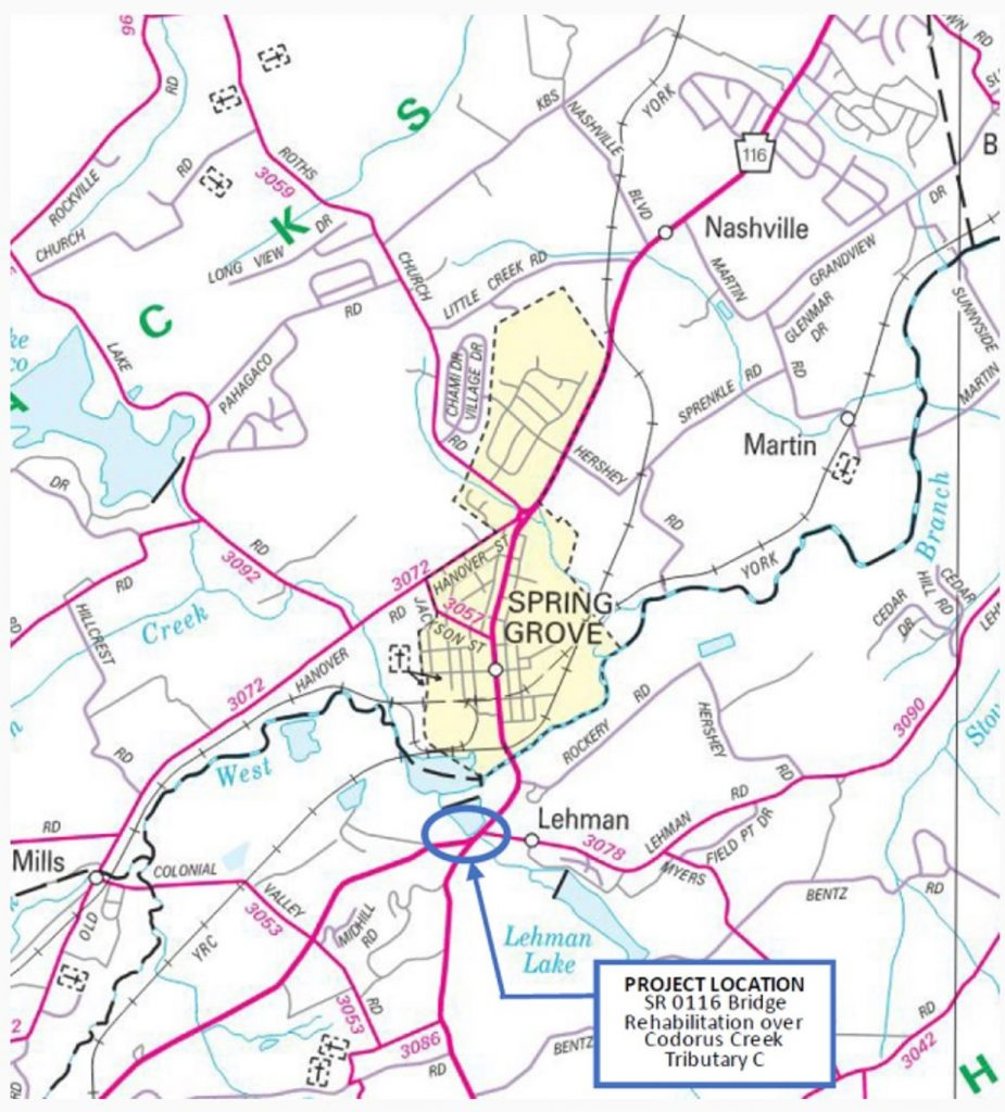 Topographic map provided by PennDOT of the project area. Please read article for project details.