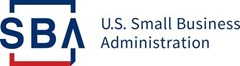 """white background with dark blue text, """"SBA U.S. Small Business Administration""""."""